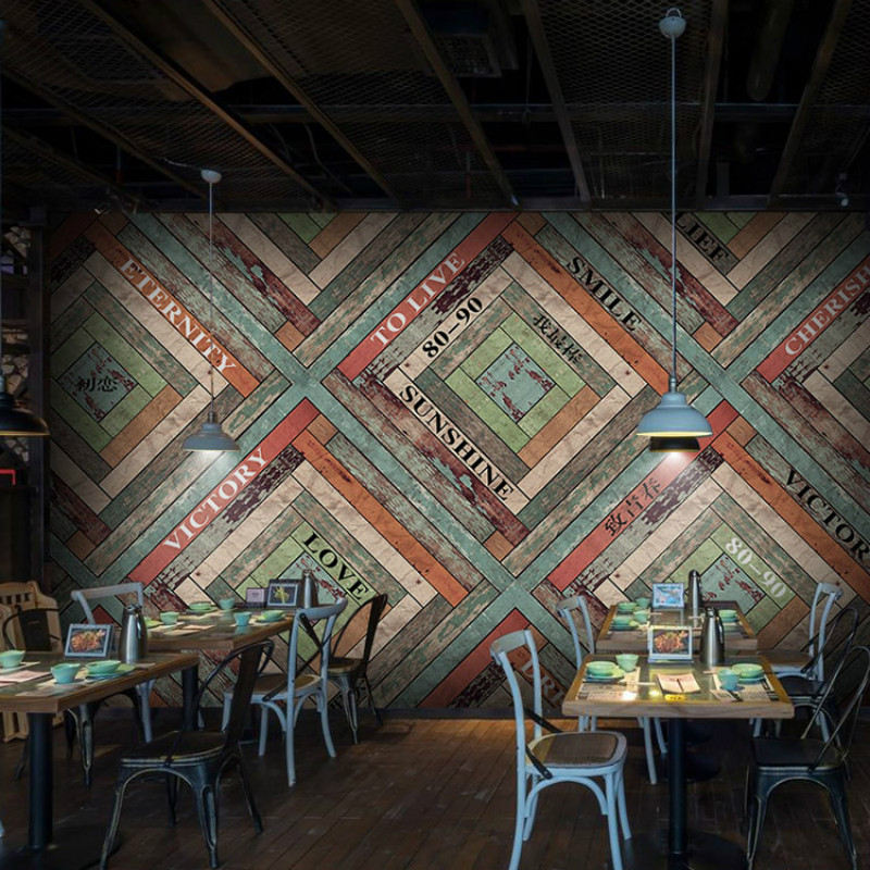 Custom 3d Color Wood Letters Large Mural 3D Wallpaper Stripes American Restaurants Living Room Cafe Lounge