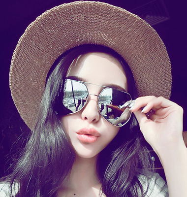Men women 2017 Retro geometric metal multilateral sunglasses mirror lens UV400 protective eyewear Free shipping