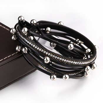 ALLYES Multilayer Leather Wrap Bracelets for Women Femme Crystal Metal Beads 3