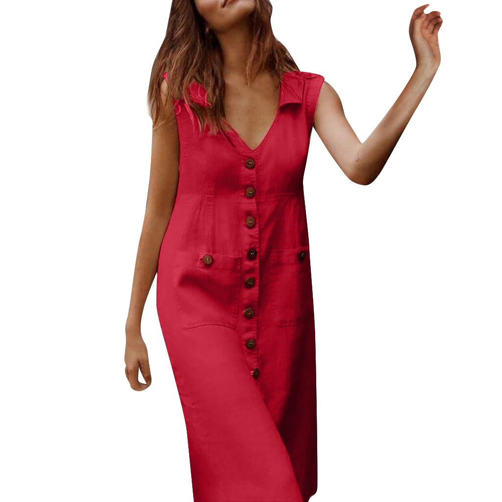 KLV 2020 summer dress Womens latest fashion платье Casual Solid With Buttons Sleeveless Mid Dress free shipping D4
