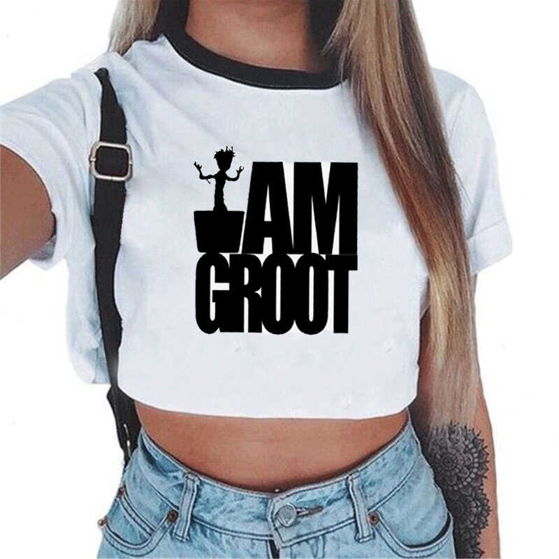 Women T-shirt I Am Groot Bady Groot Printed Crop Top Tops Tshirt Tee Funny Fashion Vogue T Shirt Harajuku Cropped Tumblr Clothes