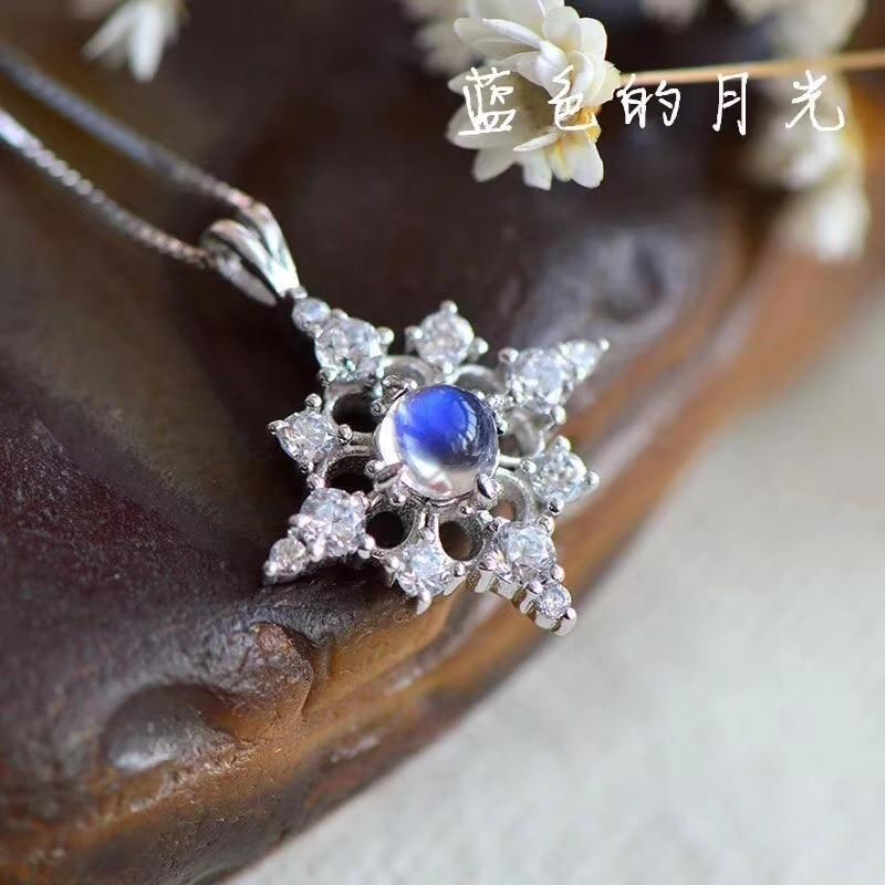 natural blue moonstone Pendant natural gemstone pendant 925 sterling silver Fashion elegant Cute stars girl gift