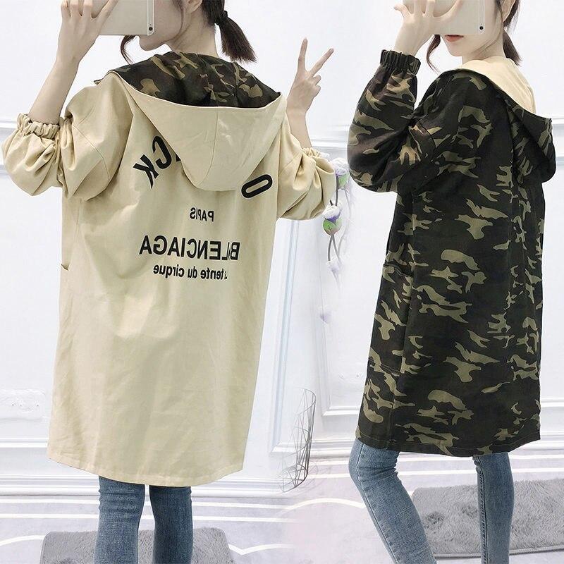 Two-Sides-Wearing Windbreaker Long-Coat Spring Harajuku Female Autumn Korean Large-Size