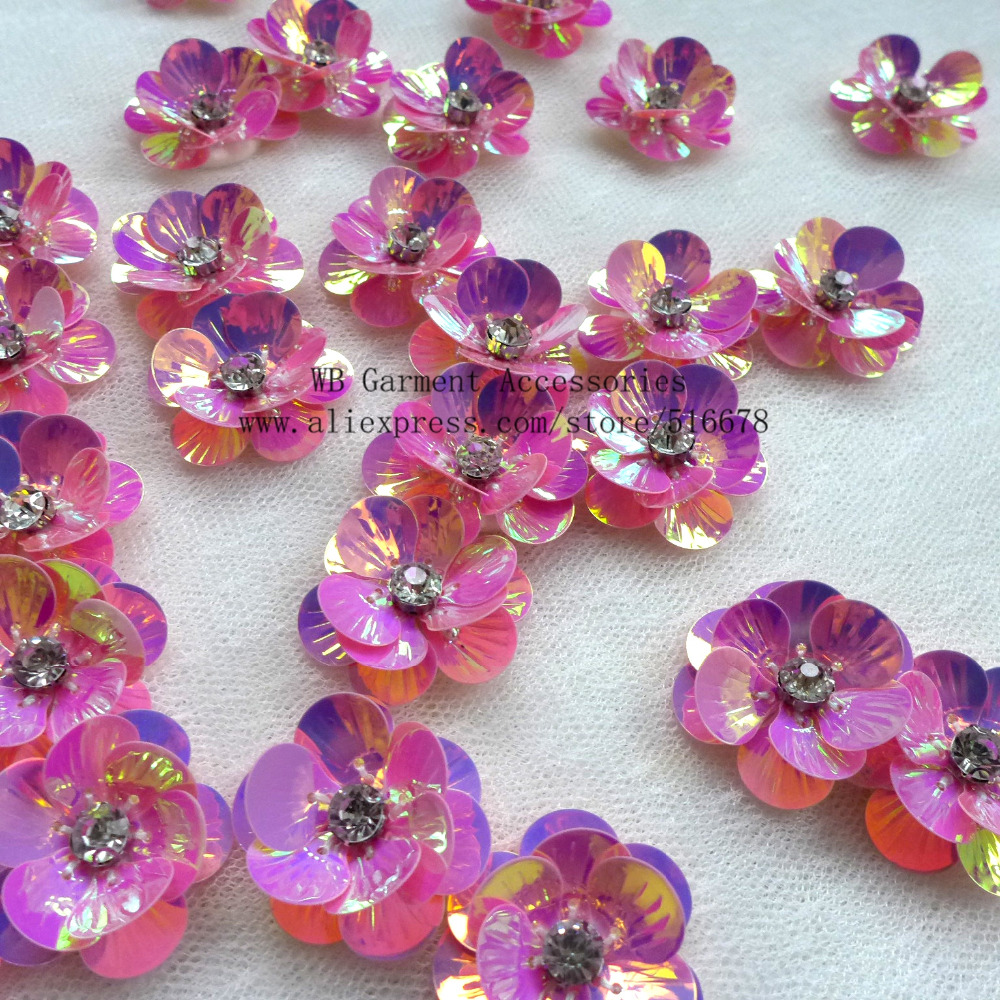 50pcslot 3d Sequin Flowers Handmade Sew On Patches Diy Wedding