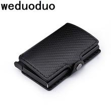 Weduoduo New Metal Men Card Holder RFID Aluminium Credit With Blocking Fashion Pu Leather Mini Magic Wallet