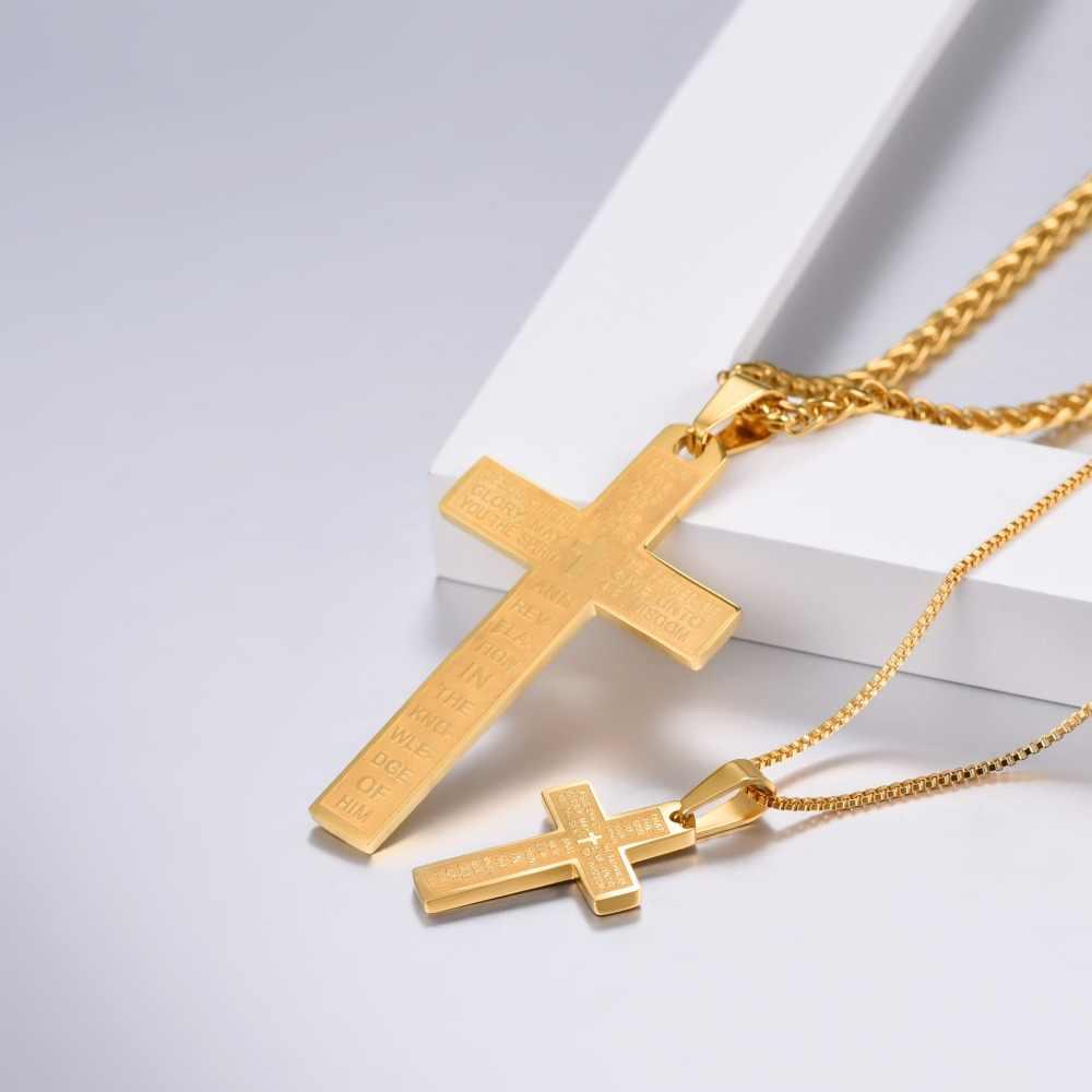 U7 modlitwy pańskiej słowa krzyż wisiorki naszyjniki duży/mały rozmiar chrześcijańscy mężczyźni biżuteria złoty/srebrny/czarny kolorowy naszyjnik P1160