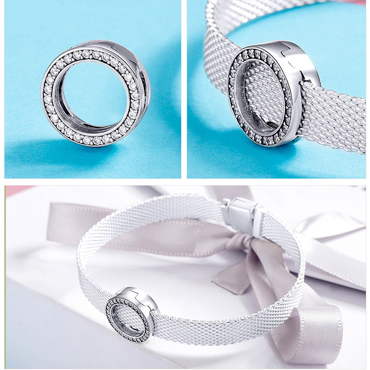 HTB1yGC8bffsK1RjSszbq6AqBXXaZ BAMOER Hot Sale Authentic 925 Sterling Silver Clear Zircon Round Circle Beads Charm fit Women Bracelets DIY Jewelry SCX101