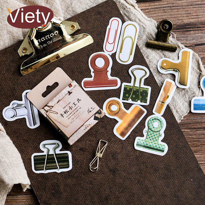 45 Pcs/Box Vintage Creativity Clamp paper sticker decoration DIY album diary scrapbooking label sticker kawaii 6 sheet bag vintage life products decoration paper sticker diy diary decoration sticker for planner album scrapbooking