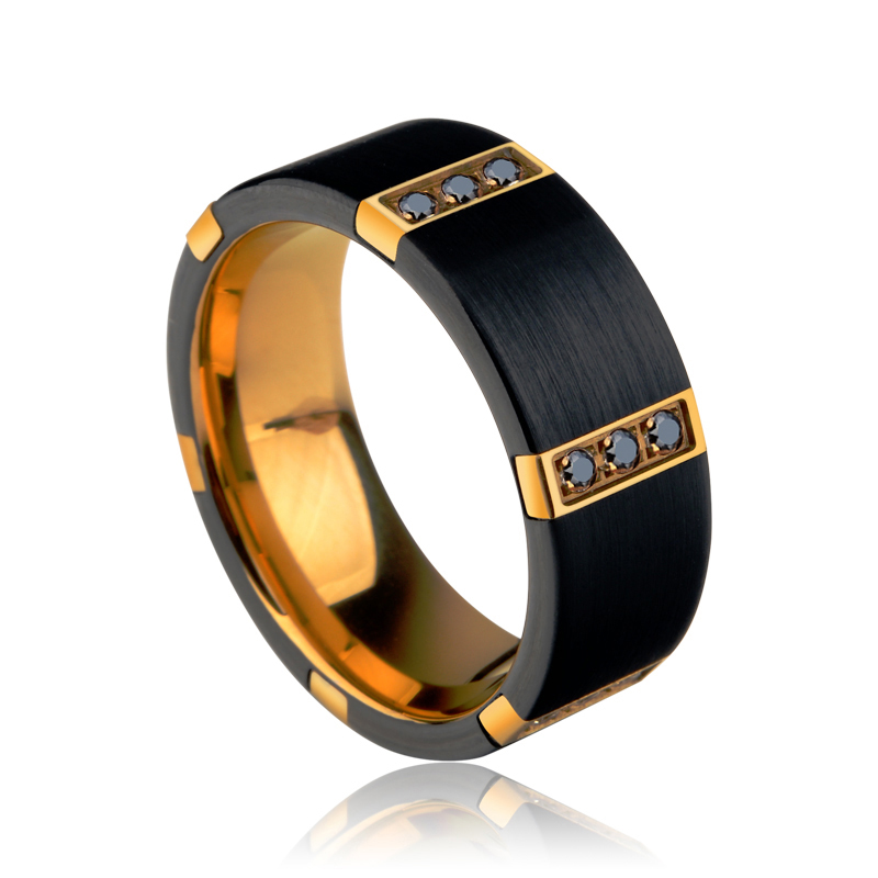 New Arrival 8MM Width Black Tungsten Carbide Rings For Man With Gold Plating Inside Black Color Three PCS Cubic Zirconia 7-11 classic design tungsten carbide man s pendants necklace for man s fasion jewelry silver black gold blue color titanium necklace