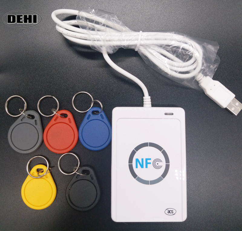ACR122U NFC Reader Writer USB 13.56mhz RFID Smart Card Copier Duplicator + 5pcs UID Changeable Keyfobs magnetic card reader msre206 magstripe writer encoder swipe usb interface black vs 206 605 606 ship from uk us cn stock