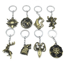 Game of Thrones Keychain House Stark Key Chain Song of Ice and Fire Key Rings Holder Souvenir for Gift Chaveiro Men Jewelry game god of war keychain olympus kratos metal key rings blades of chaos kids gift chaveiro key chain jewelry ys10927