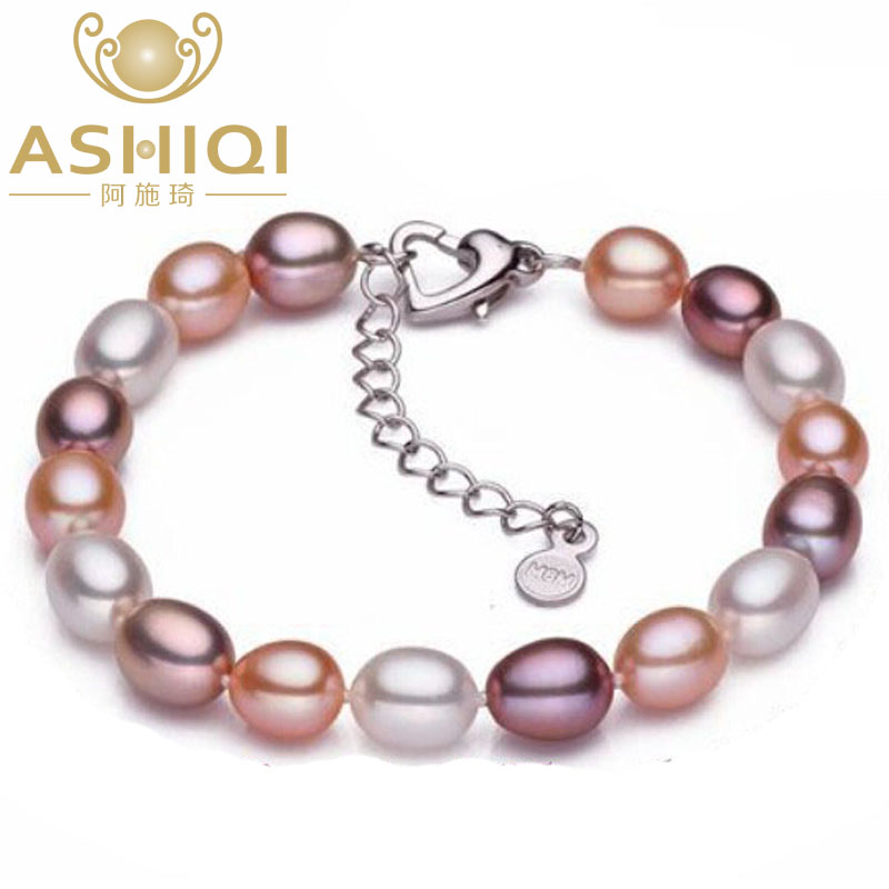 ASHIQI Real Natural Freshwater Pearl Bracelets for women 7 8mm Pearl jewelry gift