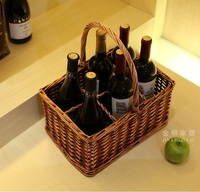 Natural and Handmade 6 Divisions Wicker and Vine Knitted Organizer Storage Basket for Wine, Beverage and Camping Picnic Supplies