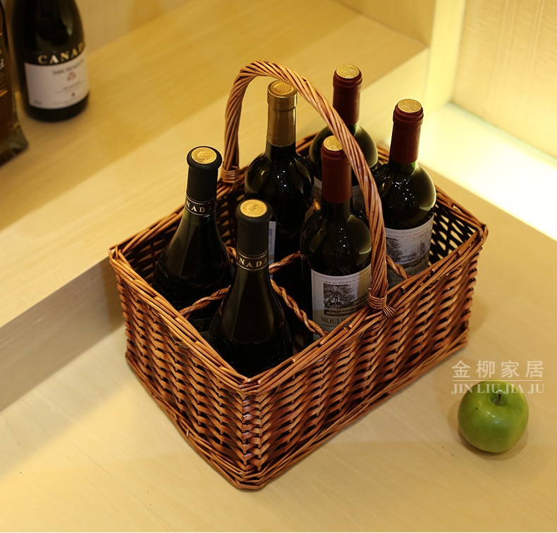 Panier de rangement organisateur en osier et vigne tricoté naturel et fait main 6 Divisions pour le vin, les boissons et les fournitures de pique-nique de Camping