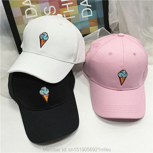 aa5c1589680 Embroidered baseball cap Strapback Adjustable Ice Cream white black pink  sun Hat Snapback Hat Fitted Trucker hat For Women Men