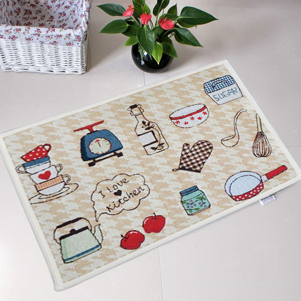Soft Kitchen Floor Mats Yazi Jacquard Food Theme Doormat Soft Fabric Home I Love Kitchen