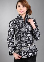 Black Traditional Chinese style Women's Silk Satin Embroidery Jacket Coat Flowers Size S M L XL XXL XXXL Free Shipping