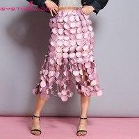 Для женщин dot pattern выдалбливать пикантные Праздничная юбка летняя Высокая талия тонкая bodycon модные офисные розовый миди club Юбка плавки
