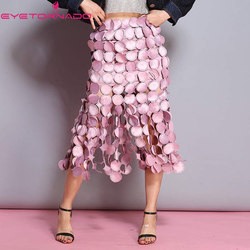 Women dot pattern hollow out sexy party skirt summer high waist slim bodycon fashion work office pink midi club skirt bottoms