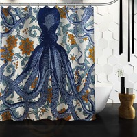 Fashion Custom Octopus Waterproof Polyester Fabric Shower Curtain 66 X 72 60 X 72 48 X