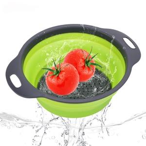 Image 5 - Silikon Faltbare Sieb Gemüse Obst Waschen Ablassen Sieb Korb Sieb Faltbare Sieb Mit Griff Küche Werkzeuge