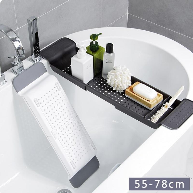 Storage Holders Racks Multipurpose Adjustable Bathtub Tray Shower Wine Glass Book Holder Drain Compact Bathtub Table HTQ99