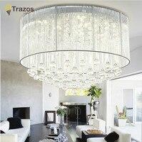 Каскадная хрустальная люстра Капля воды K9 хрустальные потолочные светильники Роскошная Европейская стиль лампа круглый тканевый абажур