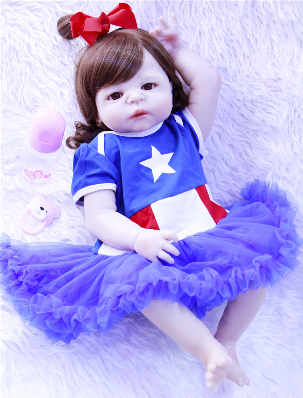Cheveux bouclés bebes renaître silicone reborn bébé poupées 23