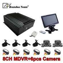 цена на 960H 8 Channel Mobile Car DVR + 4pcs Mini Car Camera + 2pcs Mini IR Camera + Car Monitor for Bus Taxi Truck