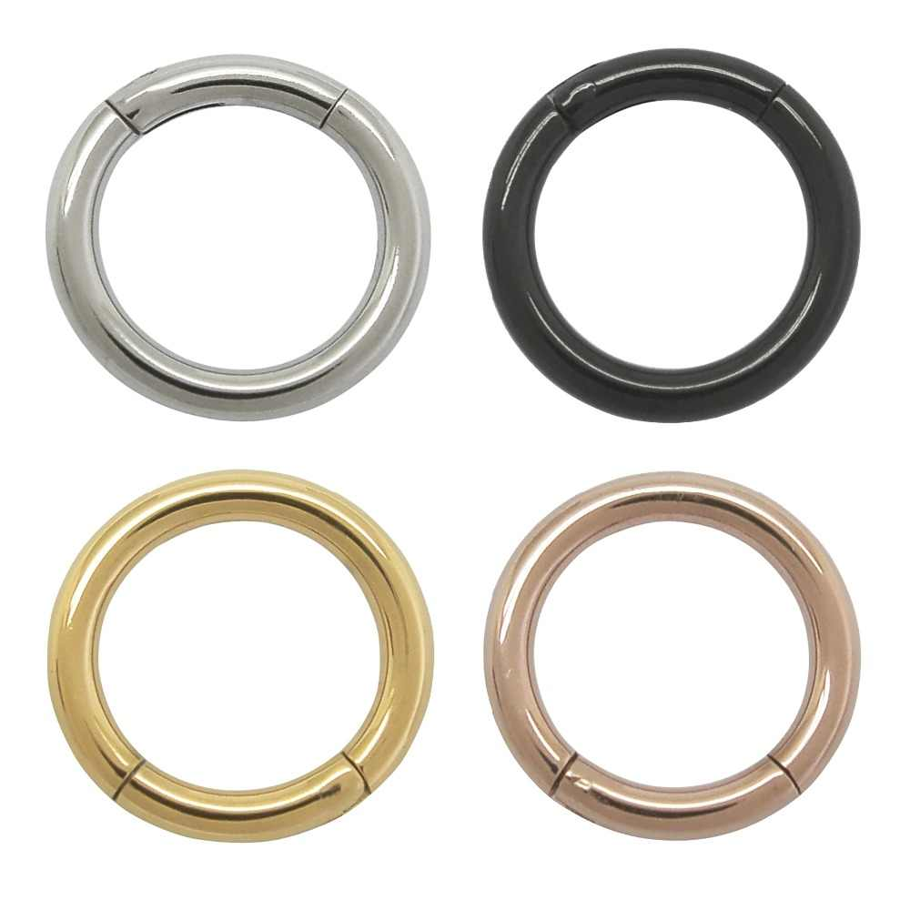 2 0mm Thick 316l Stainless Steel Hinged Ring Nose Lips Eyebrow Navel Hoop Segment Ring Septum Clicker Earrings