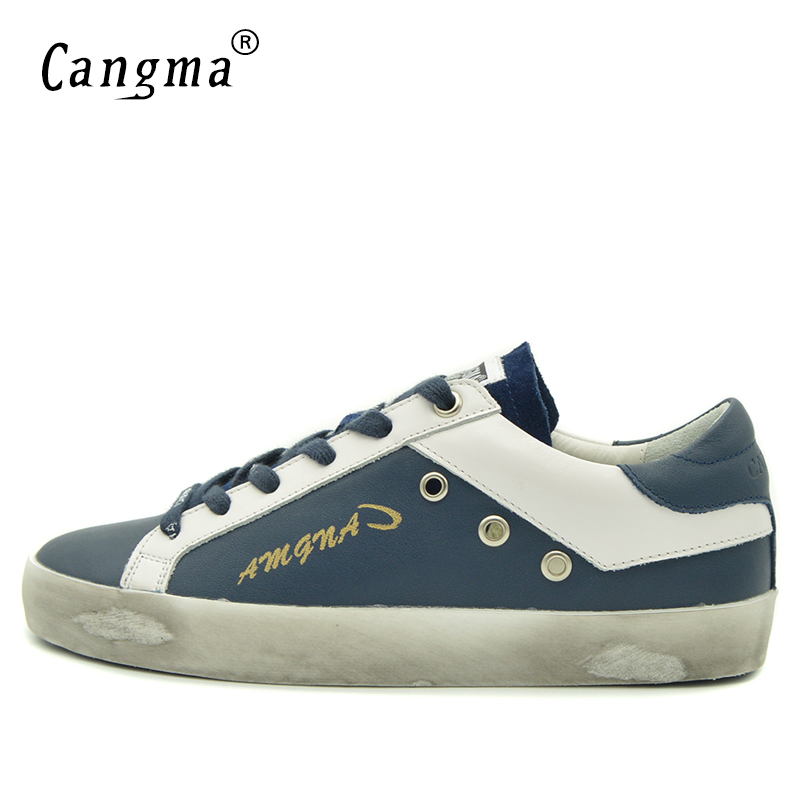 Image 3 - CANGMA British Brand Shoes Men Sneakers Vintage Navy Blue Man  Shoes Leather Genuine Male Shoe Adult Casual Latest Footwear 2017Mens  Vulcanize Shoes