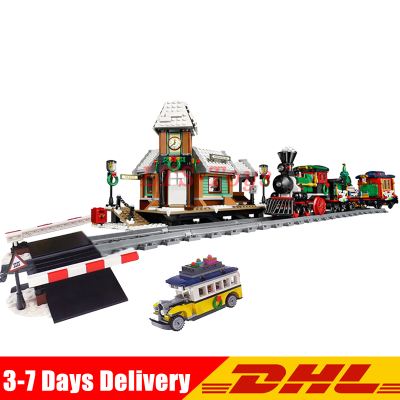 DHL Lepin 36001 Winter Holiday Train+36011 Winter Village Station Building Blocks Bricks Toys Christmas Gifts Clone 10254 10259 dhl lepin 36001 winter holiday train 36011 winter village train educational building blocks toys gifts clone with 10254 10259