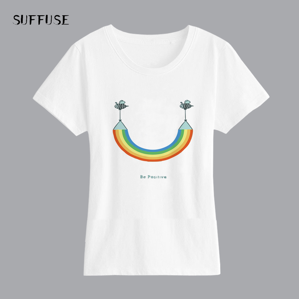 Women T Shirt Cute Rainbow Bee Print Female T-shirt Modal Short Sleeve White Casual Shirt Tee Clothing Summer