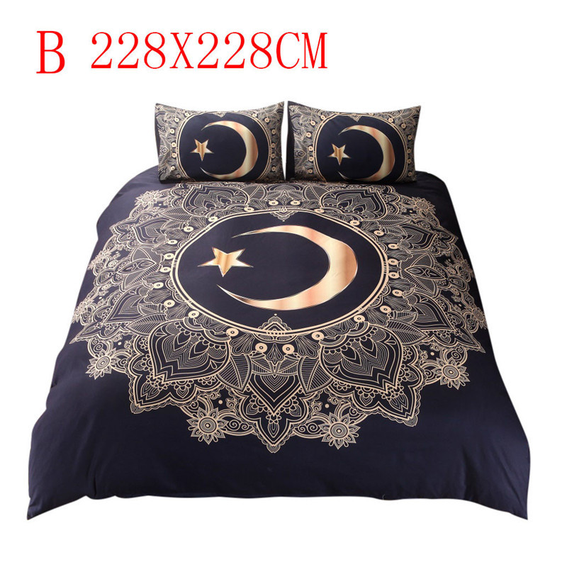 Image 3 - Three Piece Bedding Set Duvet Cover Pillowcases Moon Star Full Size bed sheet cover adult cotton sheets twin bed sheets-in Bedding Sets from Home & Garden
