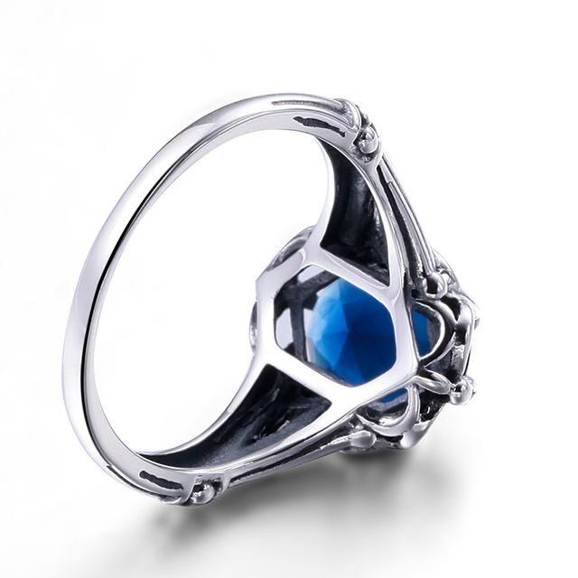Szjinao Hot Sale Anillos De Plata Charm Ring Skyrim Real Solid 925 Sterling Silver Jewelry Vintage Sapphrie Rings For Women