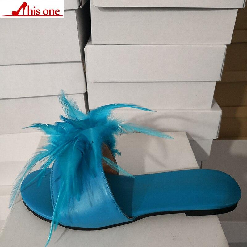 Cette marque Design grande taille 35-47 loisirs plume Top qualité plage femmes chaussures d'été chaussures plates femme pantoufles tongs - 3
