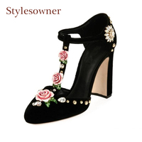 Stylewowner spring new high heel roune toe pumps women 3D rose flowers with luxury diamond rivet decor T strap party runway shoe