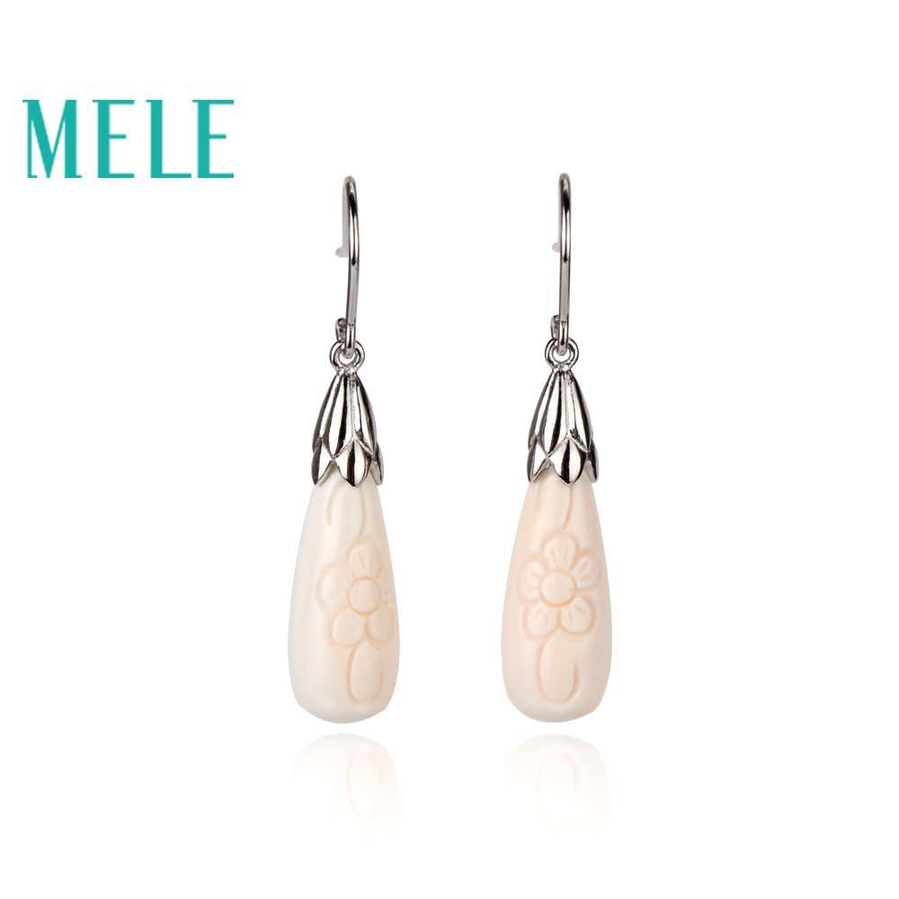 MELE Pale pink water drop shell dangle earrings for women Exquisite carve patterns jewelry with 925