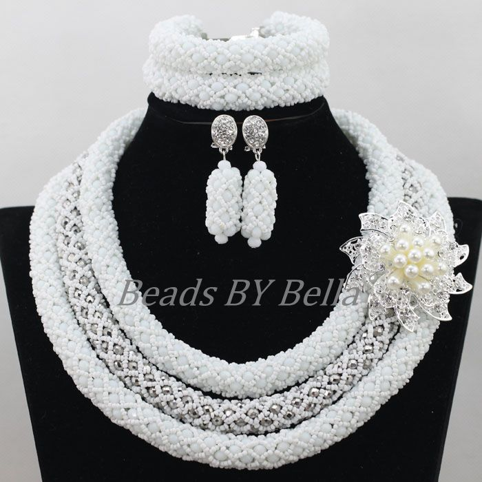 Latest White Nigerian Beaded Necklaces Sets Crystal Bridal Jewelry Sets Necklace African Wedding Beads New Free Shipping ABF734Latest White Nigerian Beaded Necklaces Sets Crystal Bridal Jewelry Sets Necklace African Wedding Beads New Free Shipping ABF734