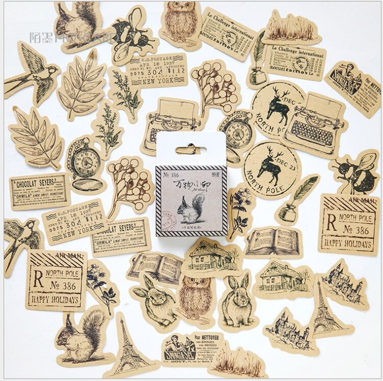 46pcs/box The Story in the Forest fairy tale animal plants seal decoration sticker DIY planner scrapbook photo stickers escolar