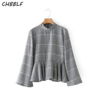 Women Vintage Ruffled Plaid Shirt Long Sleeve Stand Collar Blouse Retro Ladies Casual Chic Tops Blusas