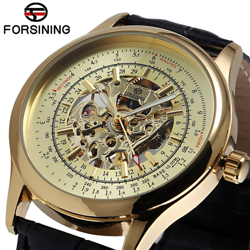 FORSINING Fashion Gold Watch Man Men Classic Skeleton Gold Color Hand Wind Skull Watches Mechanical Watches Wristwatch Free Ship
