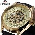 Forsining homem relógio de ouro da moda homens clássico esqueleto cor de ouro crânio relógios de vento mão mecânica relógios de pulso navio livre