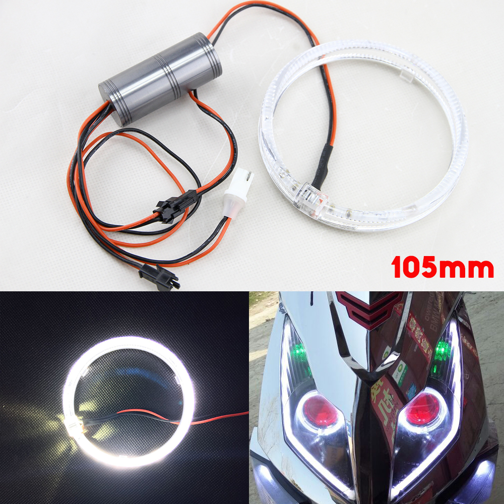 2x 105mm White Guide LED Angel Eyes Halo Rings For Car Motorcycle Headlights 12V Canbus No Error Led drl daytime running lights direct fit for benz sprinter 208 515 06 08 front led fog lights w guide angel eyes drl halo rings car styling car parts lamp