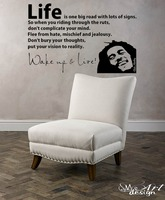 BOB MARLEY WAKE UP WALL DECAL VINYL LETTERING Sticker Quotes Motivation Music Vinyl PVC Home Decor