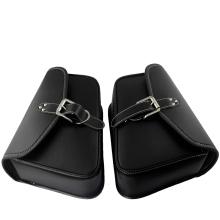 2 x Motorcycle Black PU Leather Side Waterproof Saddle Bags