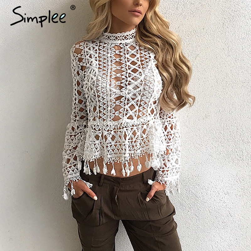 Simplee Hollow out white lace blouse 2016 womens