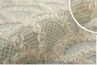 ivory rosette lace fabric, embroidered crocheted lace bridal wedding fabric, 1 yard