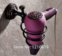 Newly US Free Shipping Solid Brass Retro Style Hair Dryer Shelf Holder Rack Oil Rubbed Bronze