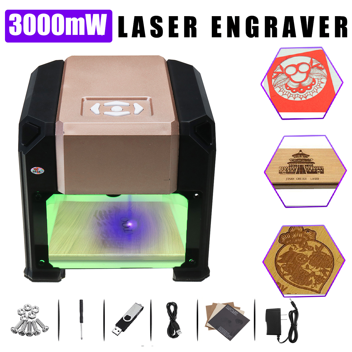 3000mW USB Laser Engraver Printer Cutter Carver DIY Logo Mark Laser CNC Cut Engraving Carving Machine
